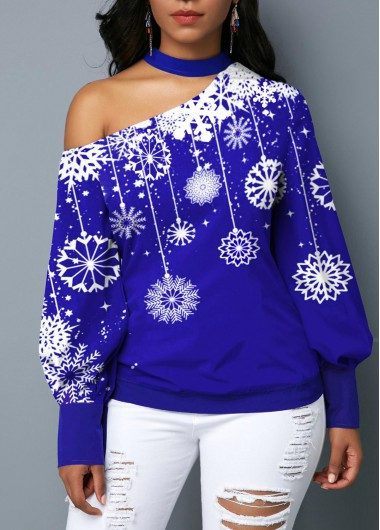 Women'S Royal Blue Snowflake Print Blouson Sleeve Choker Neck Holiday Blouse  Long Sleeve Tunic Casual Top By Rosewe - L