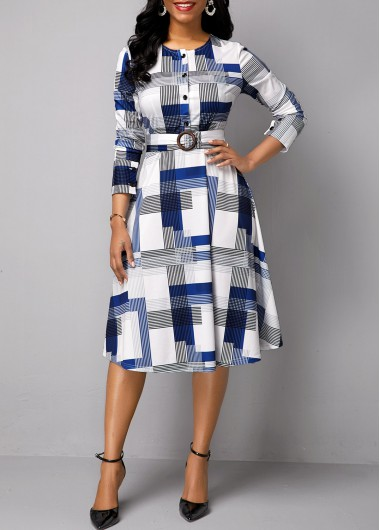 Women'S Multi Color Belted Long Sleeve Printed Casual Dress Button Detail Midi Elegant Dress By Rosewe - 16