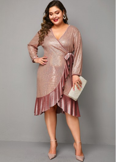 Women'S Dusty Pink Sequin Ruffle Hem Plus Size Cocktail Party Dress Solid Color V Neck Three Quarter Sleeve Sheath Midi Dress By Rosewe - 0X
