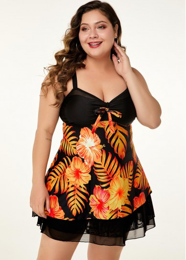 Women'S Black Floral Print Mesh Splicing Plus Size Swimdress Bathing Suit Padded Wire Free Swimsuit And Shorts By Rosewe - 14W