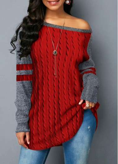 Women'S Red Skew Neck Curved Hem Contrast Panel Twist Detail Sweatshirt Long Sleeve Tunic Casual Top By Rosewe - L
