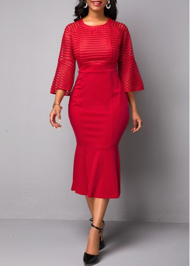 Women'S Red Flare Sleeve Mermaid Hem Sheath Cocktail Party Dress Solid Color Three Quarter Sleeve Midi Dress By Rosewe - L