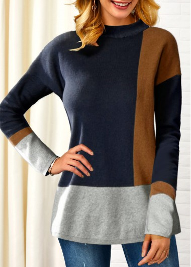 Women'S Dusty Blue Long Sleeve Pullover Mock Neck Sweater Contrast Panel Tunic Casual Jumper By Rosewe - L