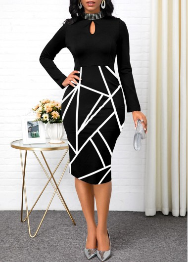 Women'S Black Geometric Printed Long Sleeve Sheath Mock Neck Cocktail Party Dress Keyhole Neckline Midi Sexy Club Dress By Rosewe - L