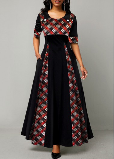 Round Neck Plaid Print Half Sleeve Maxi Dress