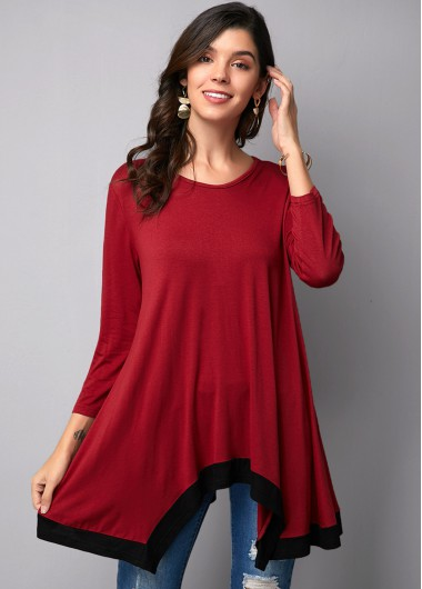 Round Neck Asymmetric Hem Wine Red T Shirt