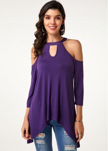 Asymmetric Hem Cold Shoulder Purple T Shirt