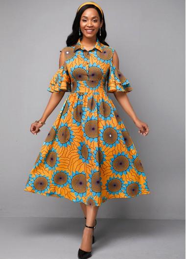 Half Sleeve Flower Print High Waist Dress - 10
