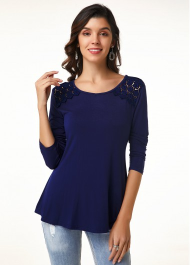 Long Sleeve Lace Trim Round Neck T Shirt - 12