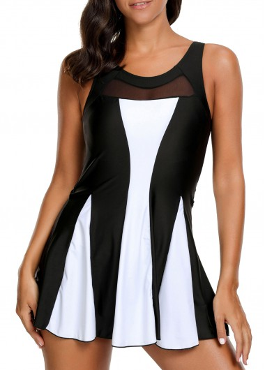 Women'S Black And White One Piece Padded Wire Free Swimdress Color Block Strappy Contrast Panel Keyhole Back Swimsuit By Rosewe - L