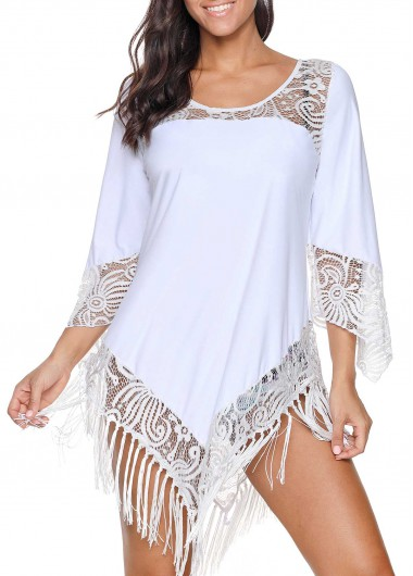Rosewe Women White Lace Swimsuit Cover Up Tassel Hem Beach Cover Ups Solid Color Three Quarter Sleeve Swim Cover Ups - L