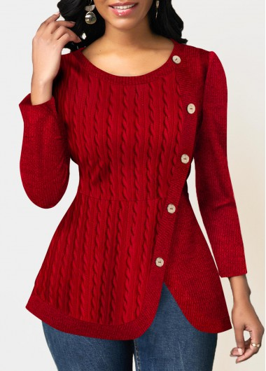 Women'S Red Long Sleeve Asymmetric Hem Inclined Button Twist Detail Sweatshirt Solid Color Tunic Casual Pullover Top By Rosewe - L