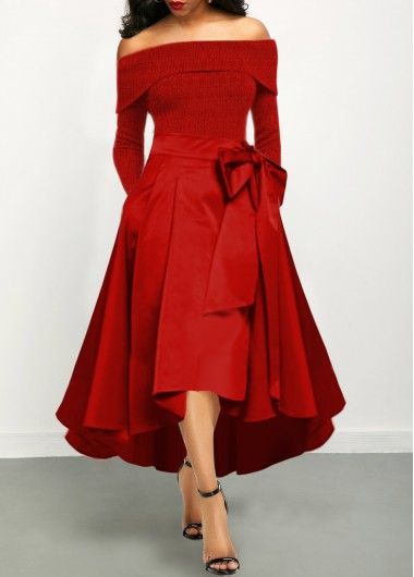 Women'S Red Off The Shoulder Maxi Flowy Cocktail Party Holiday Dress Solid Color Long Sleeve Bowknot Detail Elegant Dress By Rosewe - L
