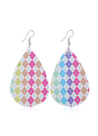 Mother's Day Gifts Printed Faux Leather Multi Color Earrings - One Size