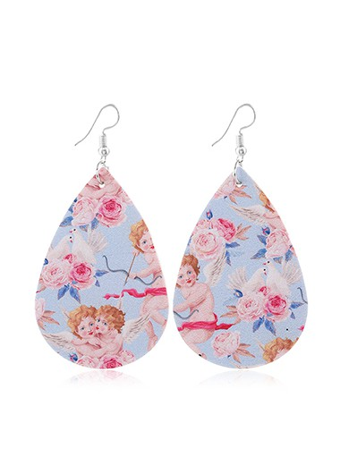 Mother's Day Gifts Flower Print Multi Color Faux Leather Earring Set - One Size