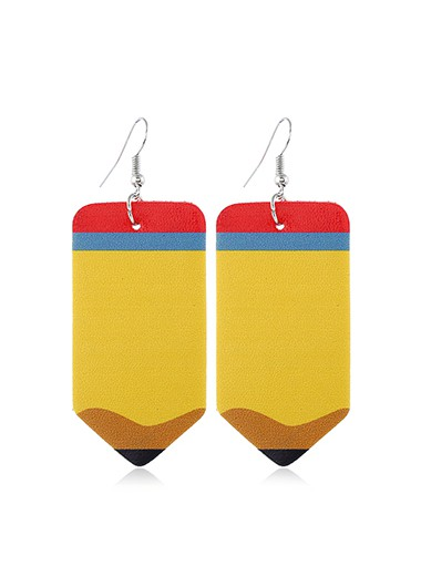 Mother's Day Gifts Faux Leather Pencil Shape Earrings for Lady - One Size