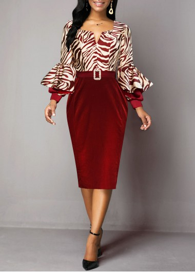 Women'S Wine Red Zebra Print Long Sleeve Sheath Cocktail Party Holiday Dress Buckle Belted Elegant Formal Work Midi Dress By Rosewe - L