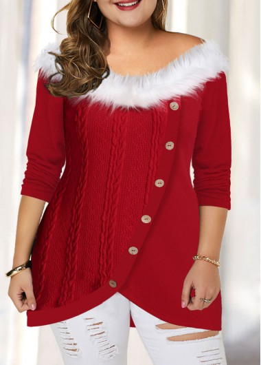 Women'S Red Fur Collar Plus Size Tunic T Shirt Button Detail Asymmetric Hem Long Sleeve Casual Holiday Top By Rosewe - 1X