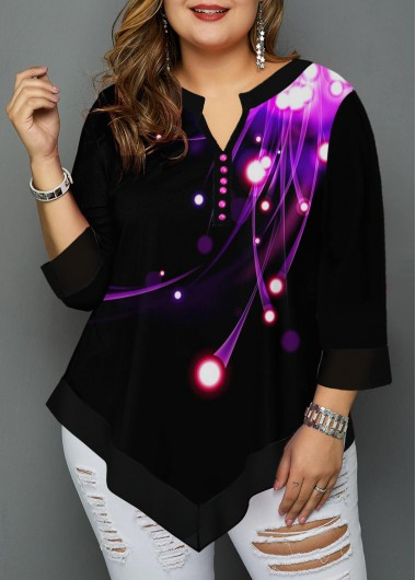 Women'S Black Plus Size Printed Split Neck T Shirt Asymmetric Hem Three Quarter Sleeve Tunic Casual Top By Rosewe - 0X