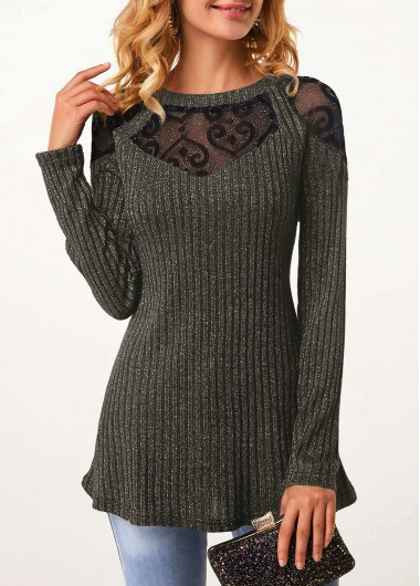 Lace Panel Long Sleeve Round Neck T Shirt - XXL