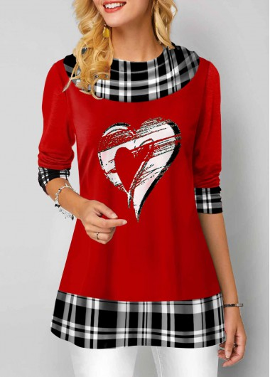 Valentine'S Day Women'S Red Heart And Plaid Print Long Sleeve Tunic T Shirt Cowl Neck Casual Holiday Top By Rosewe - 12