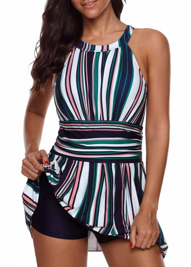 Women'S Multi Color Striped Cutout Back Two Piece Swimsuit And Shorts Padded Wire Free Bathing Suit By Rosewe - 10