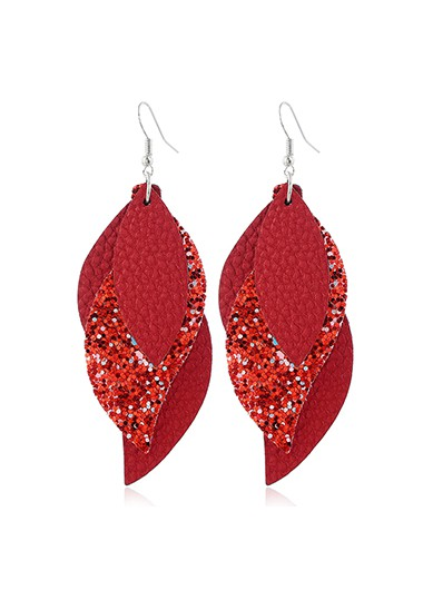 Mother's Day Gifts Coral Red Sequin Detail Leaf Shape Earrings - One Size