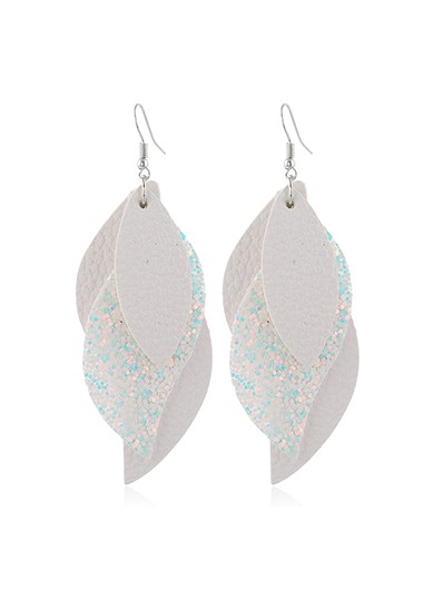 Mother's Day Gifts Sequin Detail Layered Faux Leather Earrings for Women - One Size