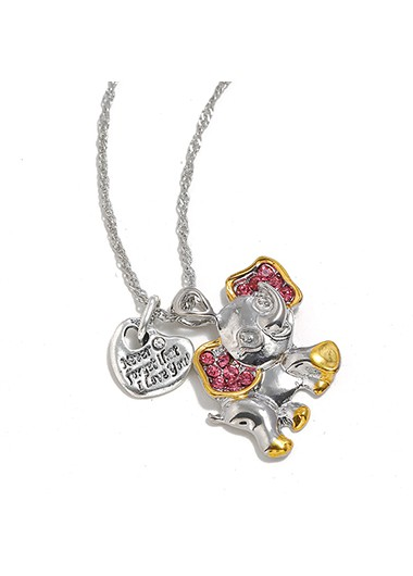 Mother's Day Gifts Silver Metal Rhinestone Baby Elephant Shape Necklace - One Size