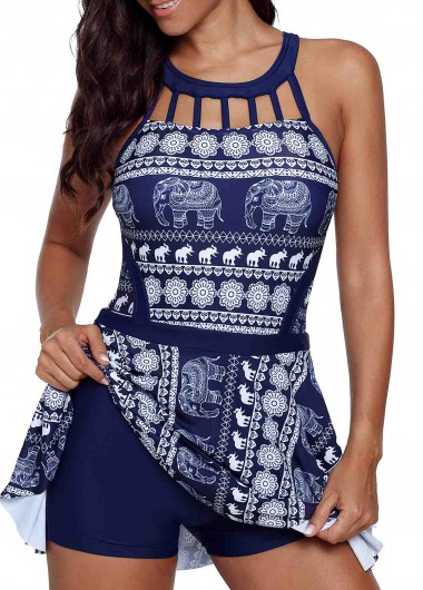 Women'S Blue Tribal Print Cage Neck Strappy Back Swimdress Bathing Suit Padded Wire Free Two Piece Swimsuit And Shorts By Rosewe - 12