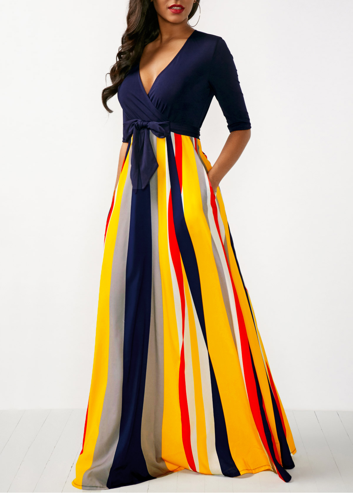 Striped V Neck Half Sleeve Rainbow Color Dress