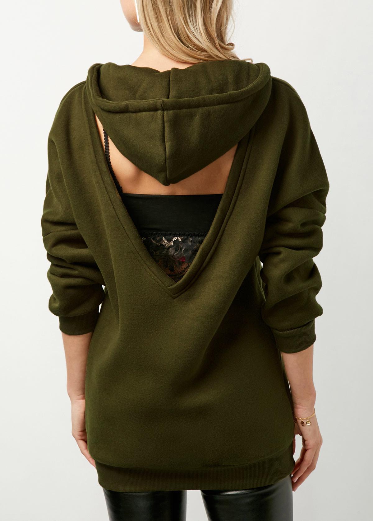 Long Sleeve Army Green Cutout Back Drawstring Hoodie