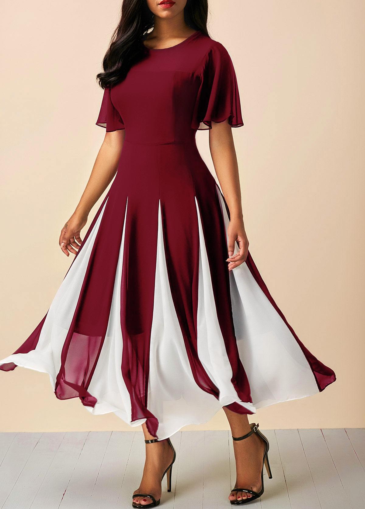 Wine Red Round Neck Short Sleeve Chiffon Dress