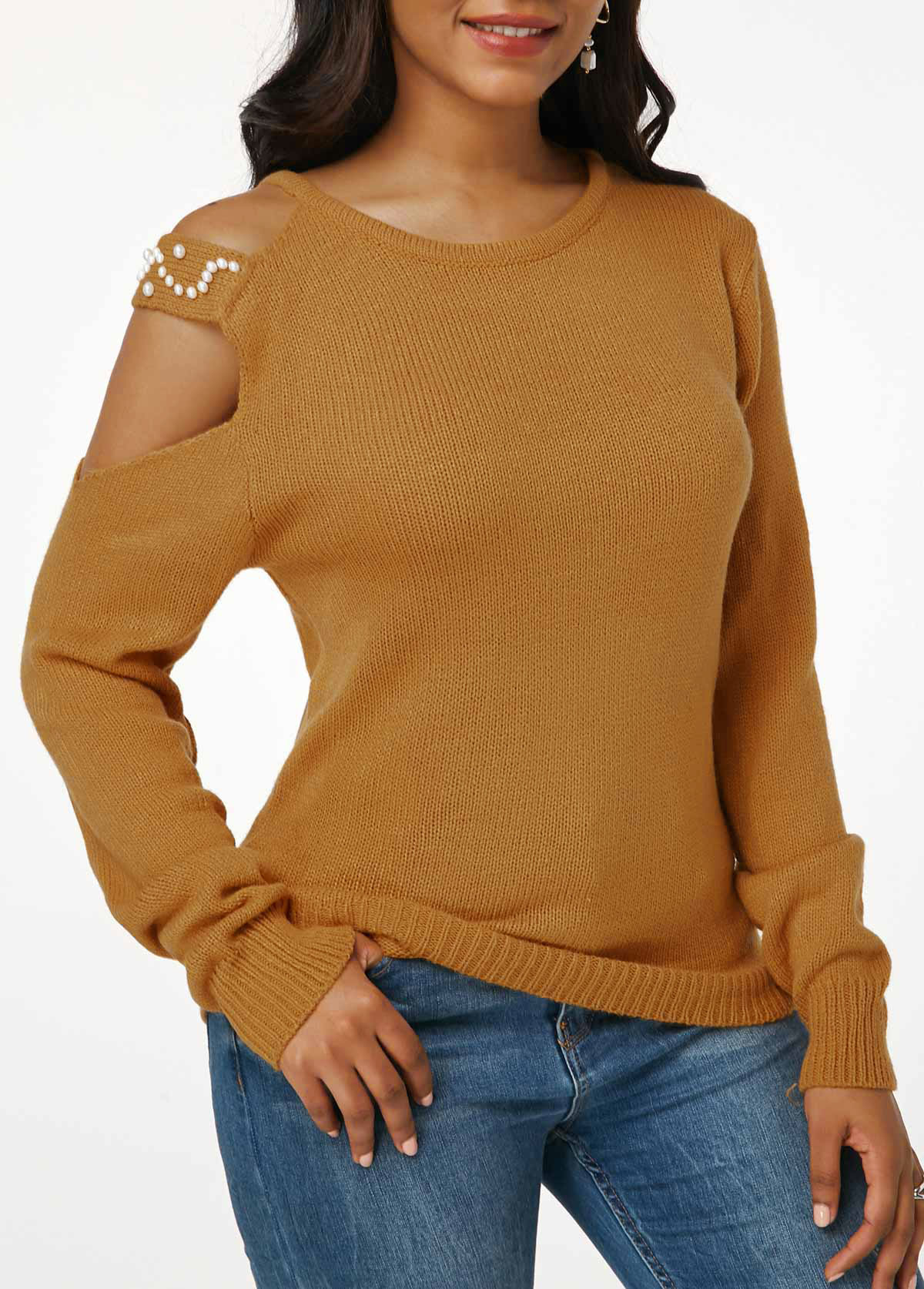 Ginger Cutout Shoulder Faux Pearl Embellished Sweater