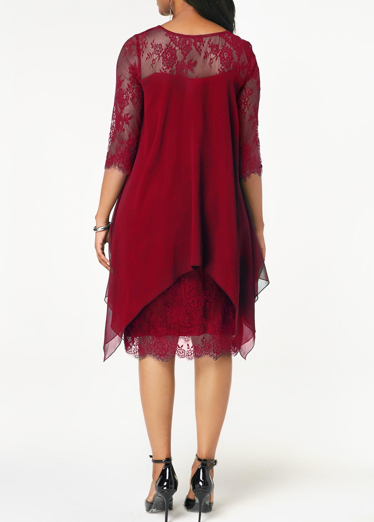 Three Quarter Sleeve Wine Red Lace Dress