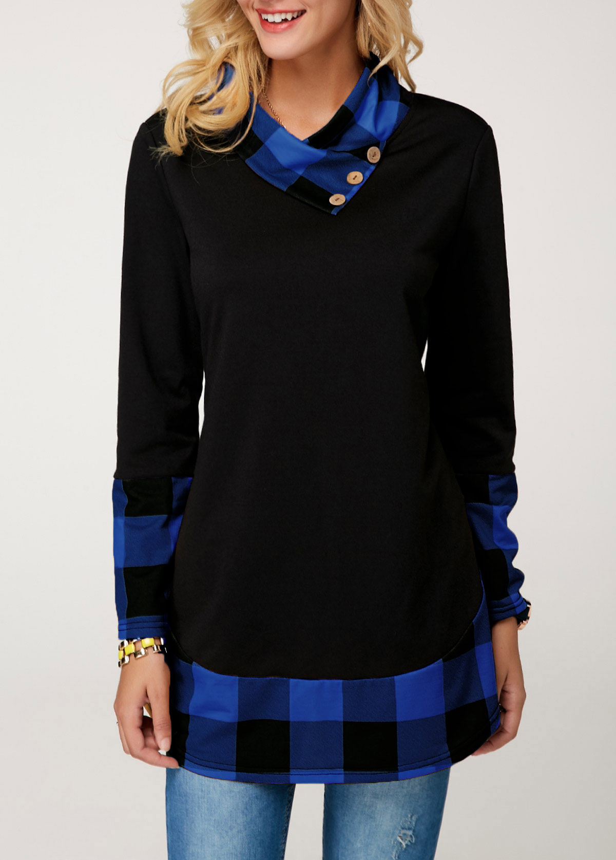 Plaid Print Long Sleeve T Shirt