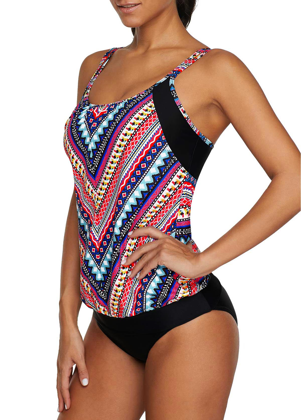 Double Strap Printed Tankini Top and Black Panty