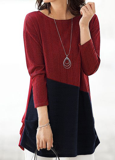 Round Neck Contrast Long Sleeve Blouse