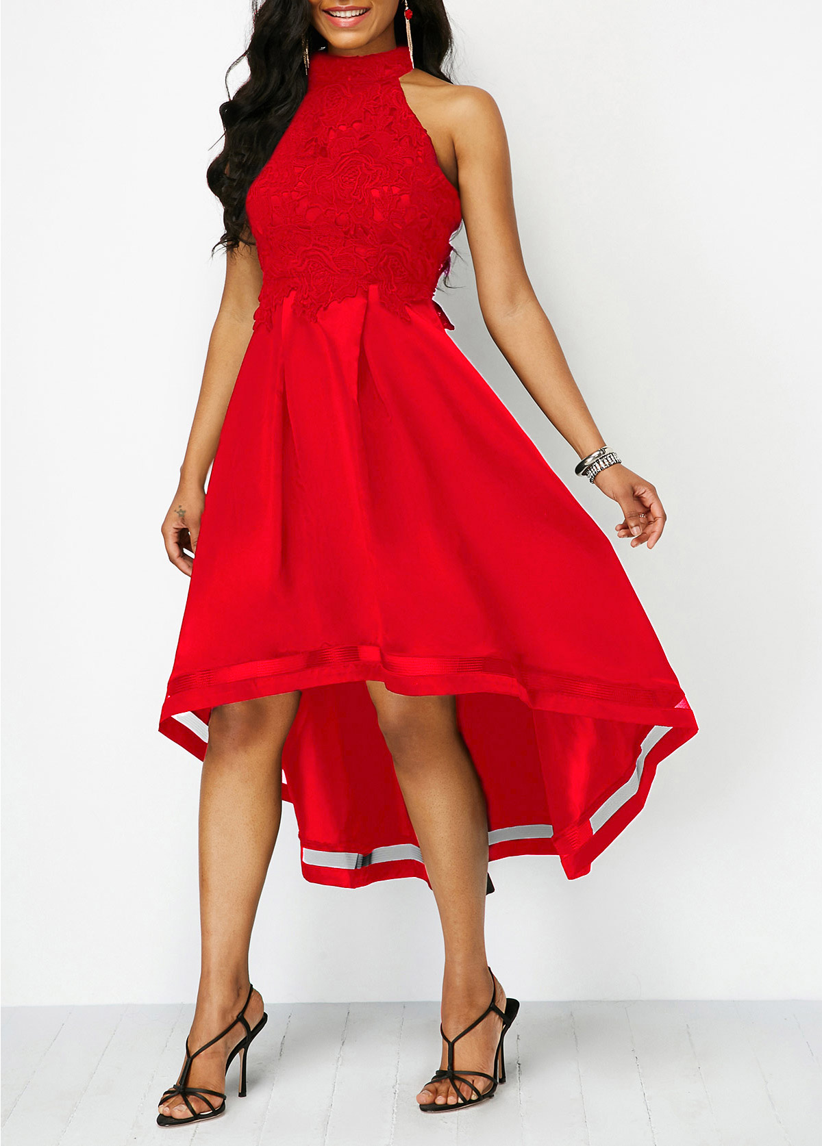 Lace Panel Wine Red Sleeveless High Low Dress