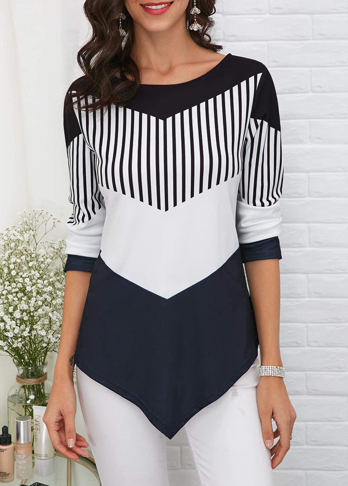 Asymmetric Hem Long Sleeve T Shirt