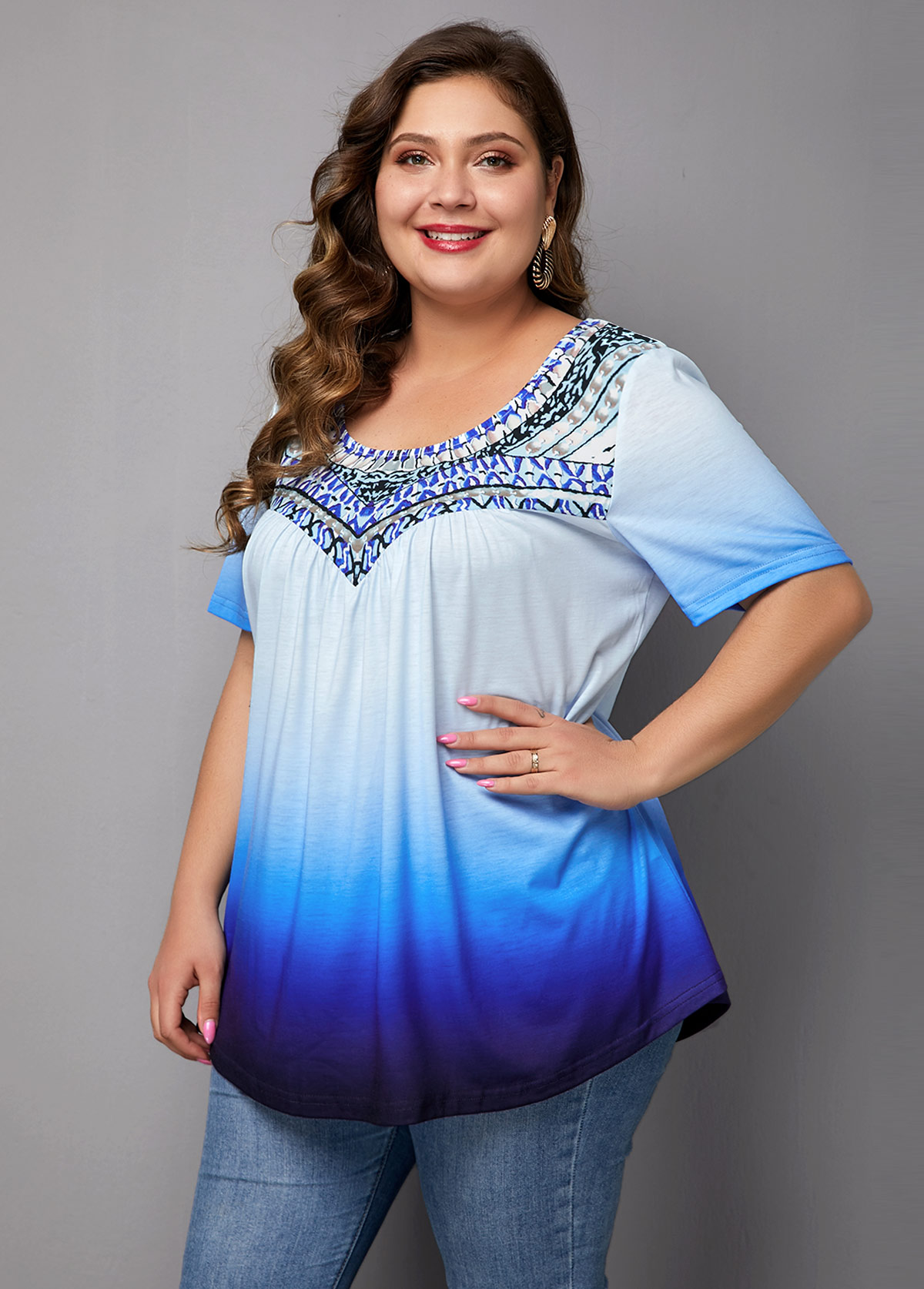 Plus Size Printed Short Sleeve Blue Ombre Blouse