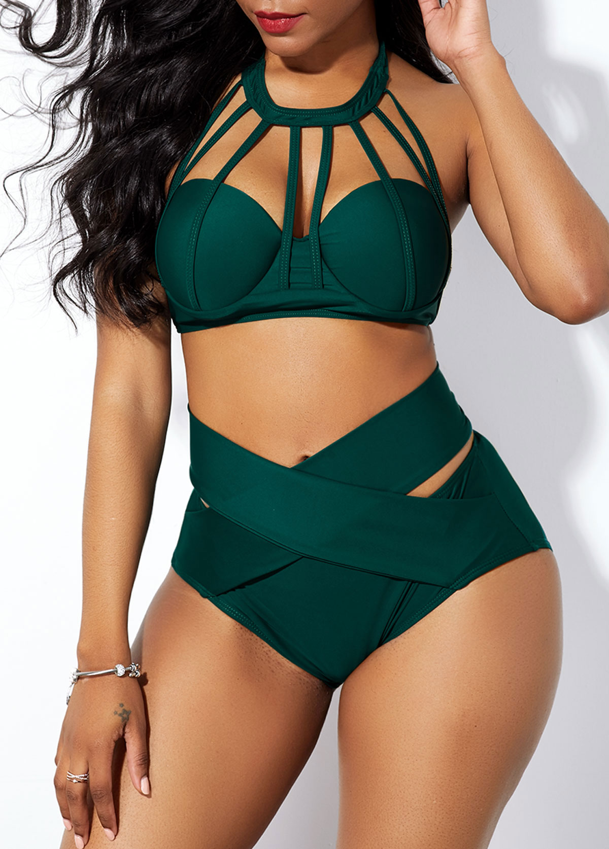 High Waist Cross Front Strappy Neck Bikini Set