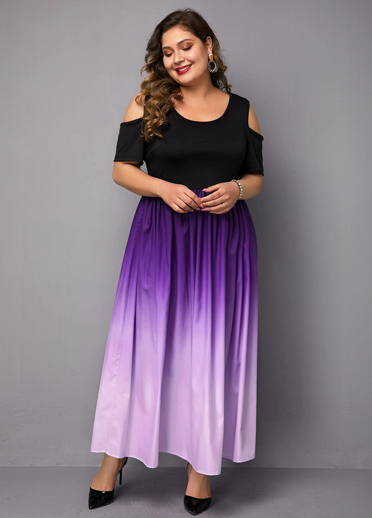 Plus Size Cold Shoulder Gradient Dress