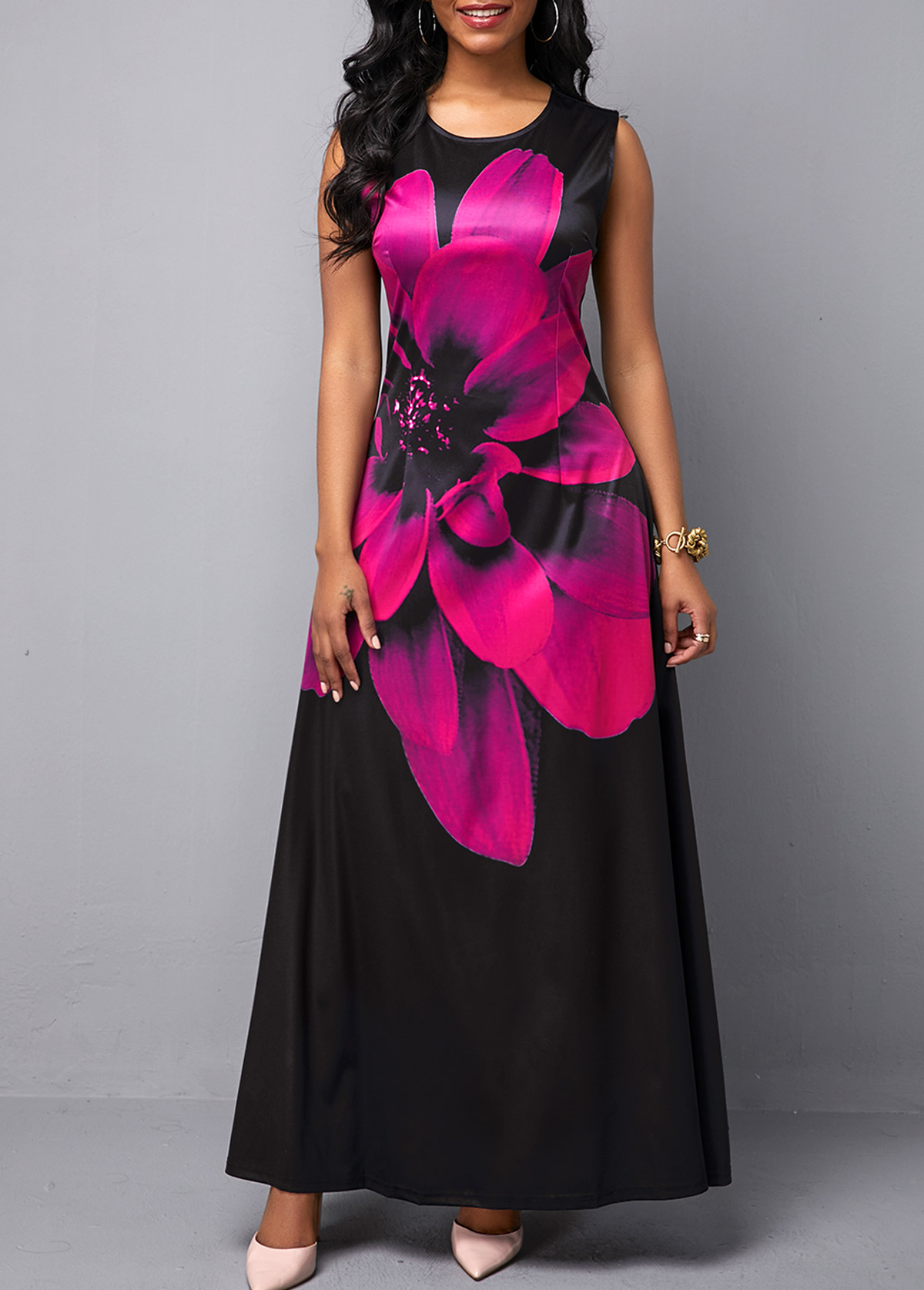 Sleeveless Round Neck Peony Print Maxi Dress