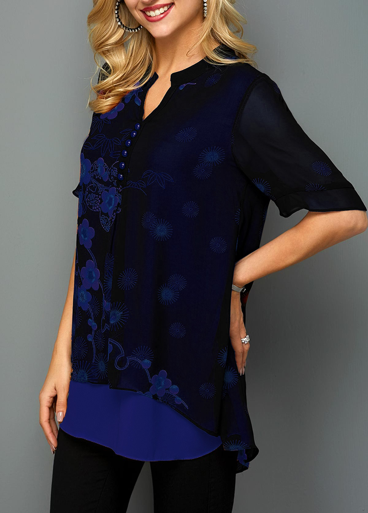 Blossom Print Button Detail Split Neck Blouse