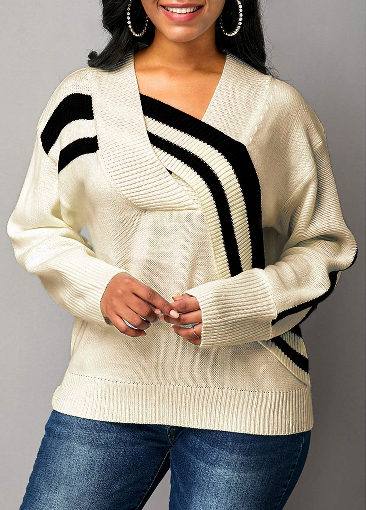 Cross Front White Long Sleeve Sweater