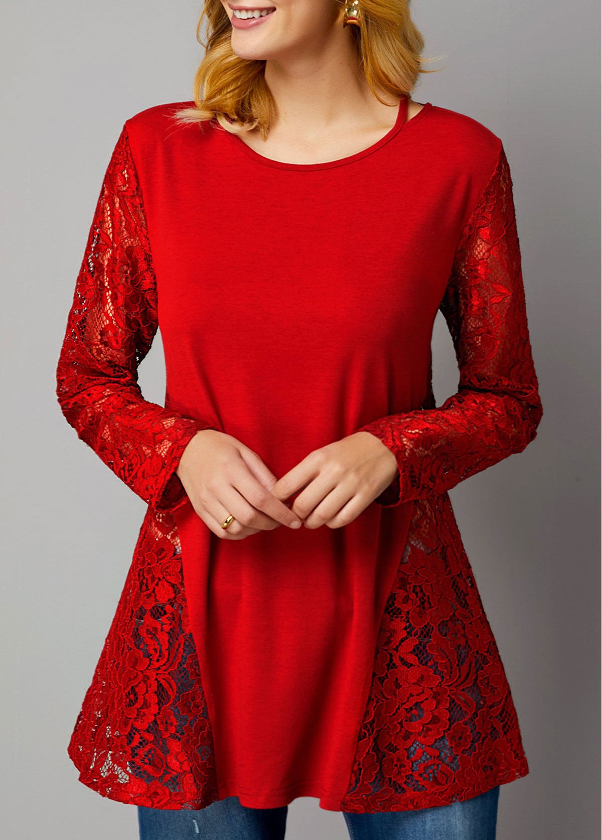 Long Sleeve Lace Panel Wine Red T Shirt