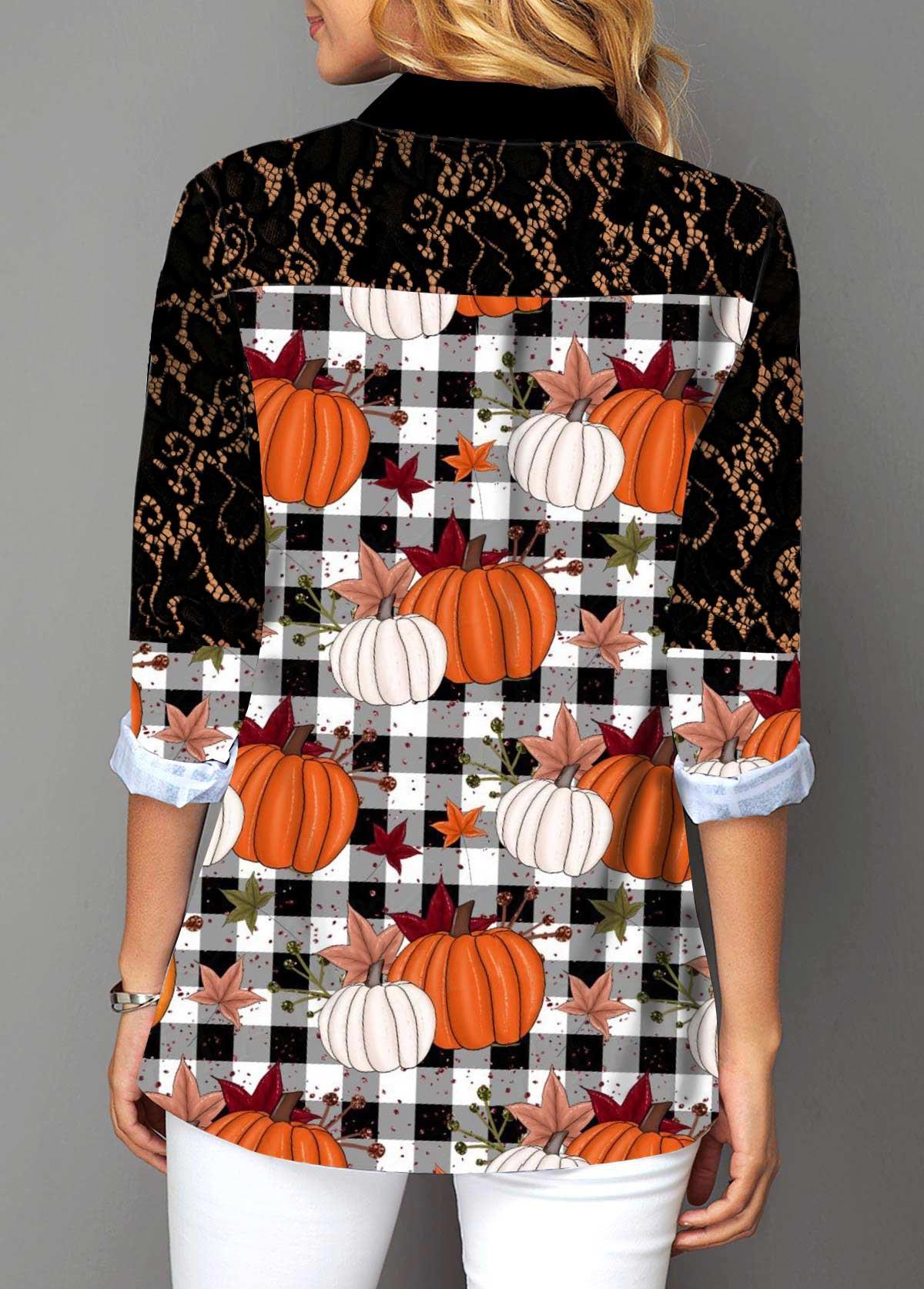 Button Up Pumpkin and Plaid Print Lace Panel Shirt