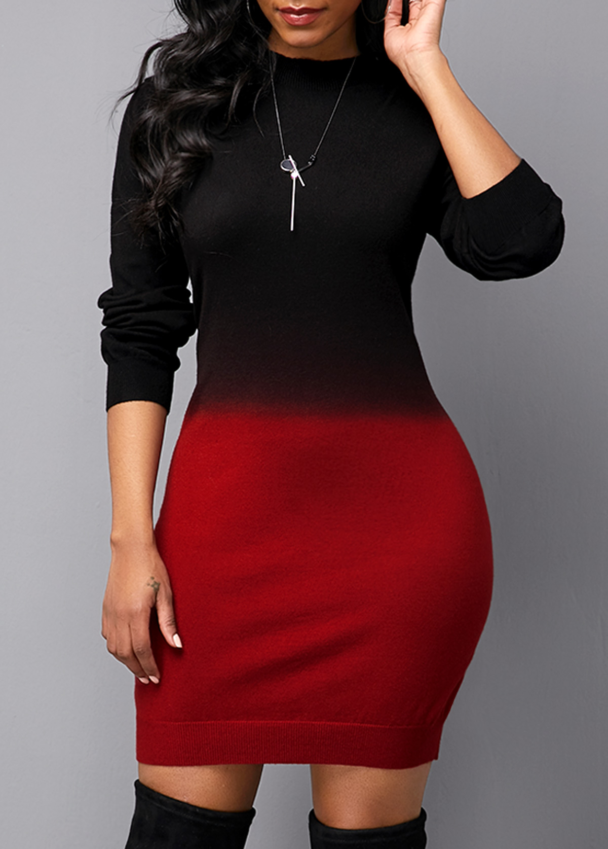 Round Neck Long Sleeve Gradient Sweater Dress