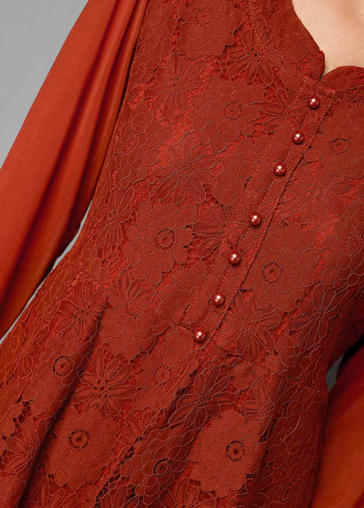 Red Button Front Long Sleeve Lace T Shirt
